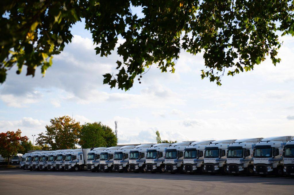 Een rij van Trans Europ trucks